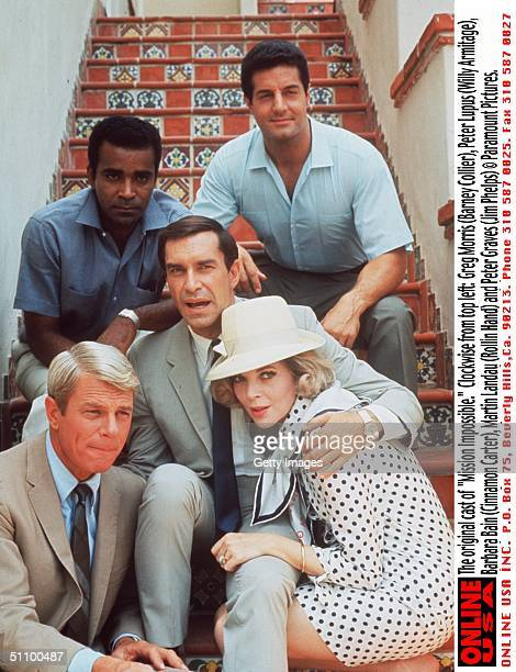 The Original Cast Of 'Mission Impossible' Clockwise From Top Left Greg Morris Peter Lupus Barbara Bain Martin Landau And Peter Graves