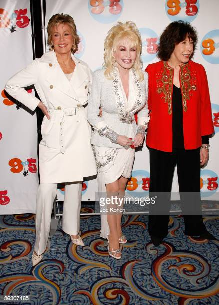 The original cast of the film 9 to 5 Jane Fonda Dolly Parton and Lily Tomlin attend the opening of 9 to 5 The Musical on Broadway at the Marriott...