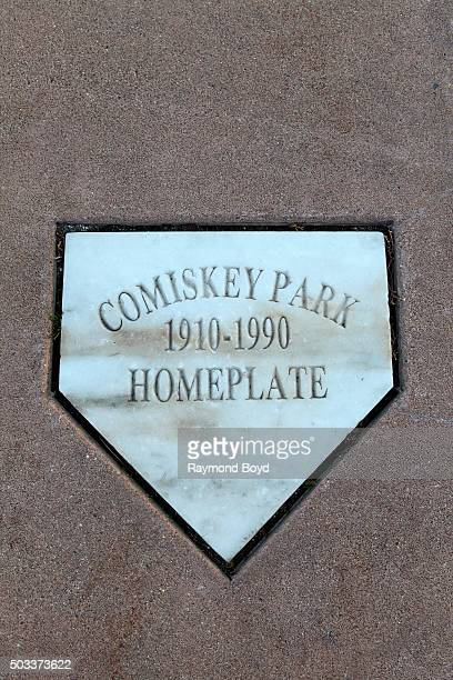 The original Comiskey Park home plate resides in parking lot 'B' outside U.S. Cellular Field, home of the Chicago White Sox baseball team on November...