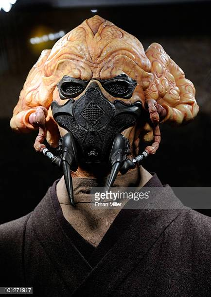 The original costume of the Jedi Master Plo Koon character from the Star Wars prequel trilogy is displayed at the museum exhibit of Star Wars In...