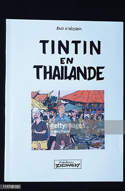 The original cover of 'Tintin in Thailand' a parody of the adventures of the famous Belgian cartoon reporter