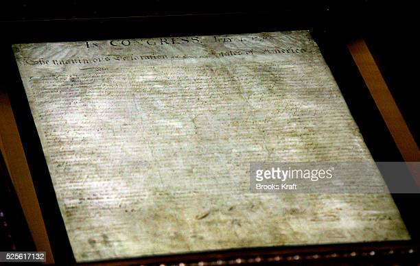 The original Declaration of Independence has been preserved with the latest advances in archival technology Drops of adhesive have been used to...