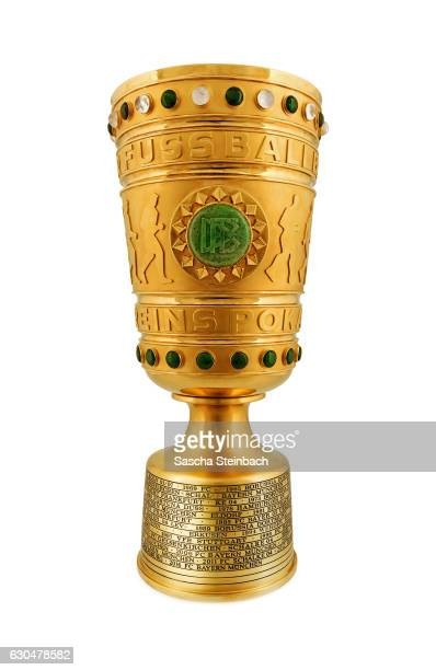 The unique 'DFB Pokal' trophy is displayed at DFB Headquarter on December 22 2016 in Frankfurt am Main Germany