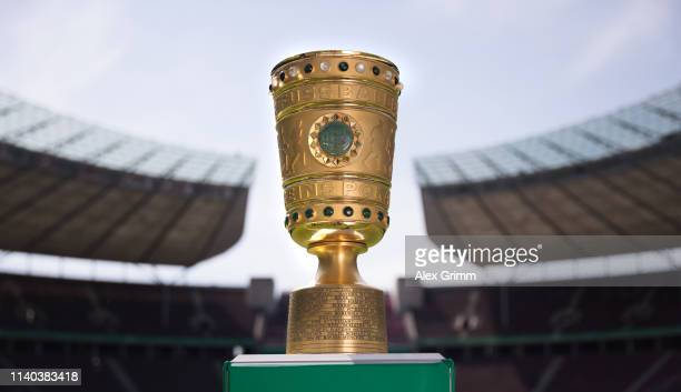 The original DFB Cup trophy is seen prior to the DFB Cup Final 2018 at Olympiastadion on May 19 2018 in Berlin Germany