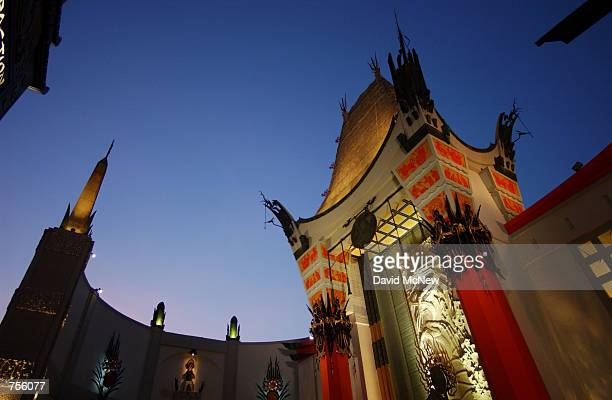 The original Grauman's Chinese Theatre forecourt, where stars have left their hand and foot prints in concrete for some 80 years, stands at the new...