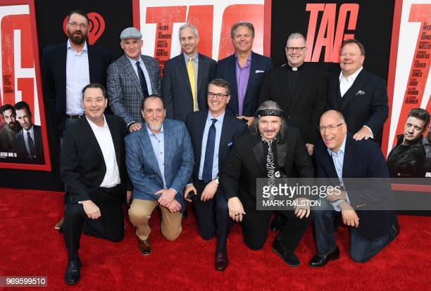 The original group of tagplaying men who were the inspiration for the movie arrive at the world premiere of Warner Bros and New Line Cinema's 'Tag'...