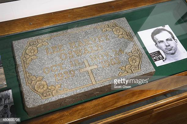 The original headstone from the grave of Lee Harney Oswald accused assassin of President John F Kennedy is displayed at the Historic Auto Attractions...