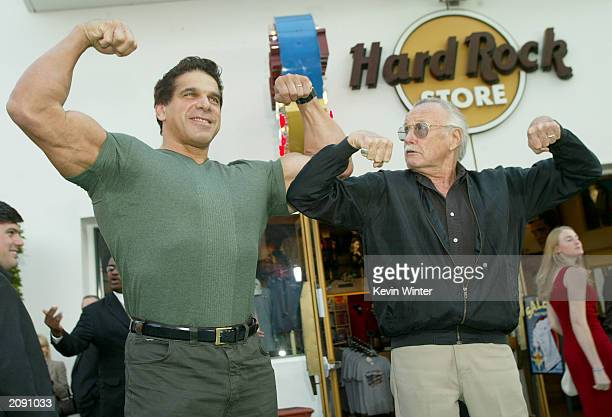 The original Hulk Lou Ferrigno and Marvel Comics creator of The Hulk Stan Lee attend the world premiere of the movie The Hulk at Universal Studios on...