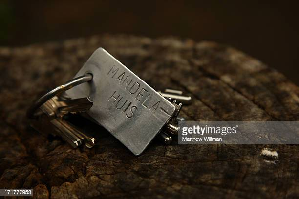 The original keys to the prison house in which Nelson Mandela was kept prisoner within the compound of Victor Verster Prison Cape Town South Africa...