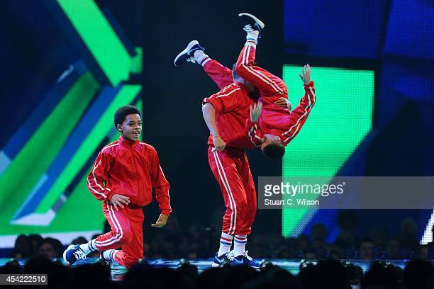"""The 'Original Kidz' perform prior to being announced as a finalist's during the second live show of 2014's """"Got To Dance"""" at Earls Court on August..."""