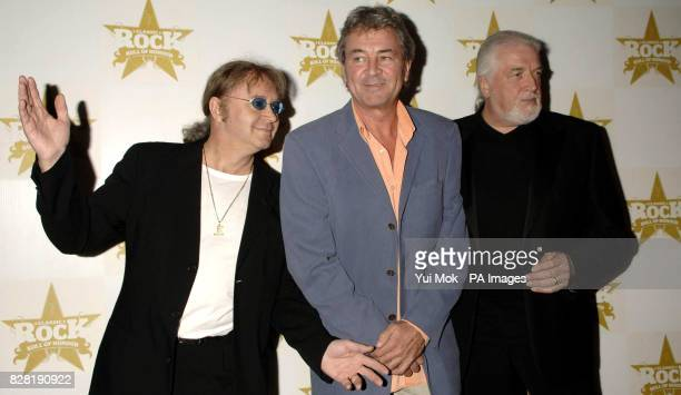 The original lineup of Deep Purple Ian Paice Ian Gillan and Jon Lord arrive for the Classic Rock Roll of Honour Awards at the Cafe de Paris central...