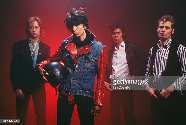 The original lineup of rock group The Pretenders UK 1979 Left to right guitarist James Honeyman Scott singer and rhythm guitarist Chrissie Hynde...