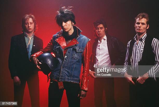 The original line-up of rock group The Pretenders, UK, 1979. Left to right: guitarist James Honeyman Scott , singer and rhythm guitarist Chrissie...