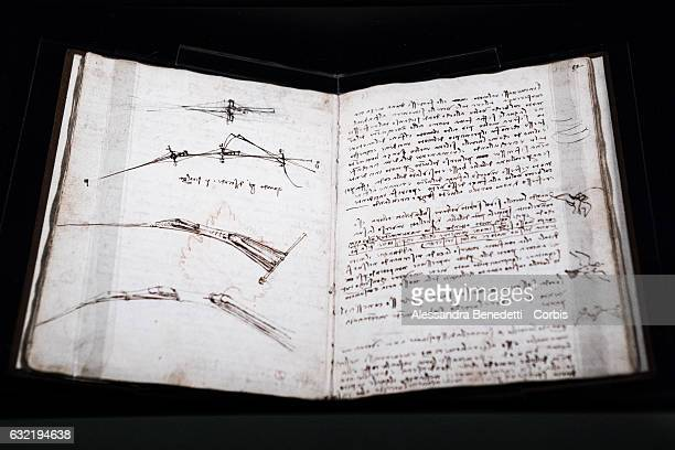 The Original Manuscript of Leonardo da Vinci's Codex on flight of birds is on display at Rome's Capitolium Museums on January 20 2017 in Rome Italy...