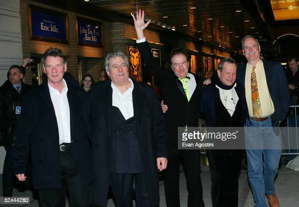The original members of Monty Python Michael Palin Terry Jones Eric Idle Terry Gilliam and John Cleese attend the opening night of 'Monty Python's...