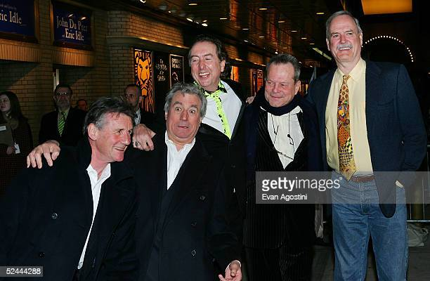 The original members of Monty Python Michael Palin Terry Jones Eric Idle Terry Gilliam and John Cleese attend the opening night of Monty Python's...