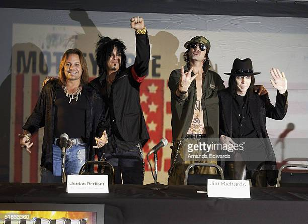 The original members of Motley Crue Vince Neil Nikki Sixx Tommy Lee and Mick Mars reunite after six years to announce Red White Crue Tour 2005Better...