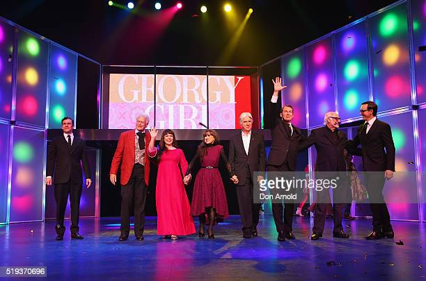 The original members of the Seekers, Keith Potger, Judith Durham , Bruce Woodley and Athol Guy take a curtain call with cast members during Georgie...