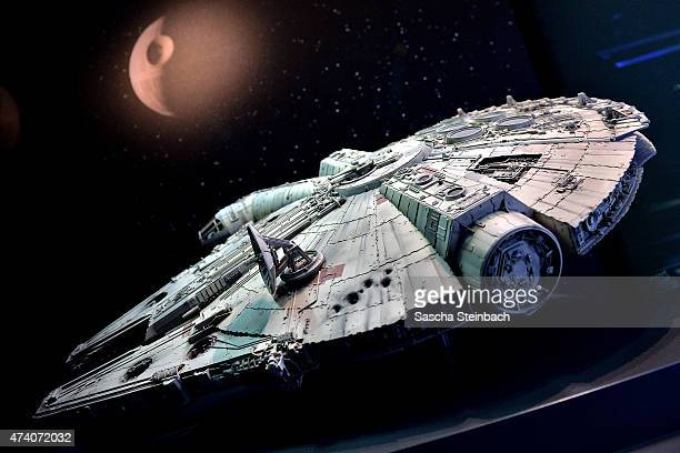 The original model of Han Solo's famous pirate freighter 'The Millennium Falcon' is seen during 'Star Wars Identities' Exhibtion Press Preview VIP...