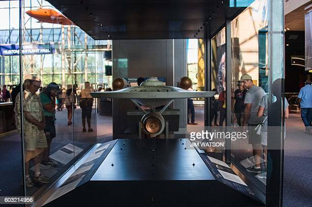 The original model of the starship USS Enterprise from the television series Star Trek is on display at the Smithsonian Air and Space Museum in...