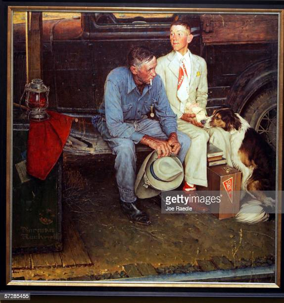 """The original Norman Rockwell painting entitled """"Breaking Home Ties,"""" which was painted for the September 25, 1954 cover of The Saturday Evening Post,..."""