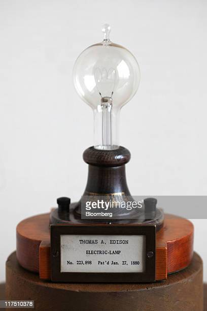The original patent model for Thomas Edison's light bulb is displayed in the office of David Kappos director of the US Patent and Trademark Office in...