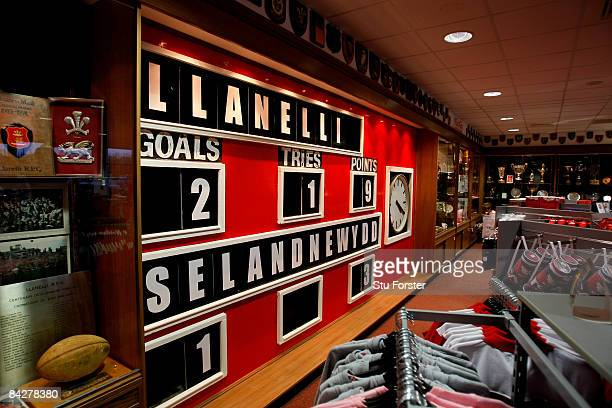 The original scoreboard from the Scarlets former ground at Stradey Park showing the score from Llanelli's famous win against the New Zealand All...