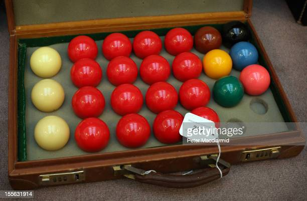 The original set of snooker balls used by Steve Davis when he achieved the first televised 147 break in 1982 is shown on November 6 2012 in London...