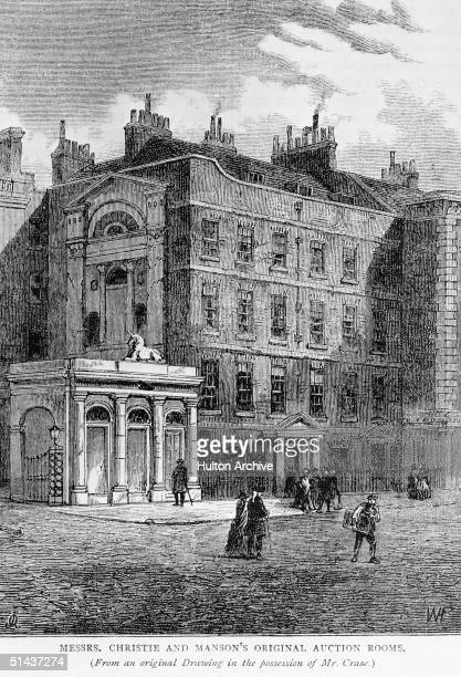 The original site of Christie's And Manson's auction rooms Pall Mall London circa 1820