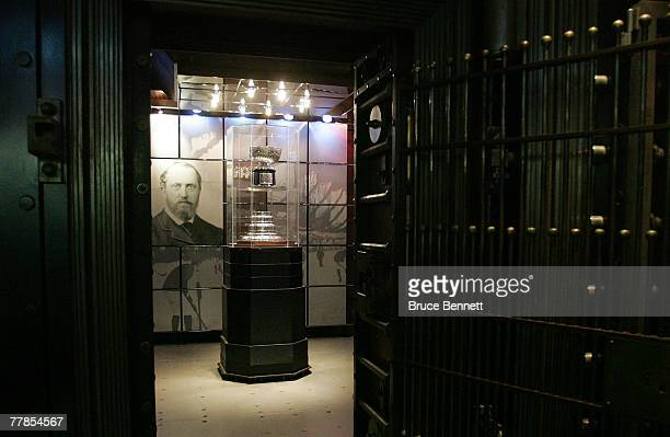 The Original Stanley Cup sits in a case at the Hockey Hall of Fame press conference on November 12 2007 at the Hockey Hall of Fame in Toronto Ontario...