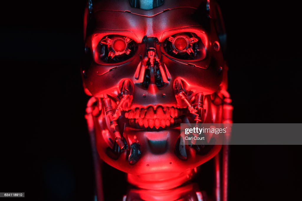 The original T-800 Endoskeleton robot used in filming Terminator Salvation is displayed during the press preview for the 'Robots' exhibition at the Science Museum on February 7, 2017 in London, England. The exhibition showcases robot history going back 500 years with over 100 robots including the largest collection of humanoid robots ever displayed.