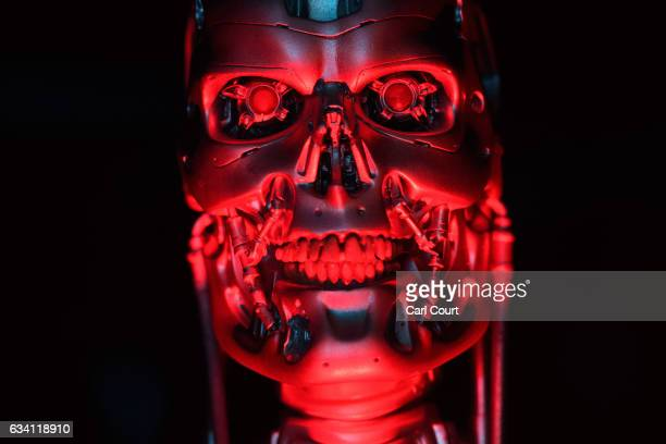 The original T800 Endoskeleton robot used in filming Terminator Salvation is displayed during the press preview for the 'Robots' exhibition at the...
