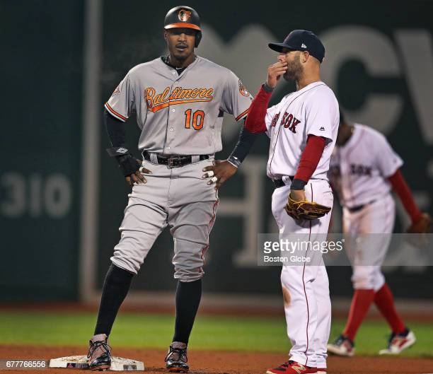 The Orioles' Adam Jones, left, talks with Red Sox second baseman Dustin Pedroia during the eighth inning. The Boston Red Sox host the Baltimore...