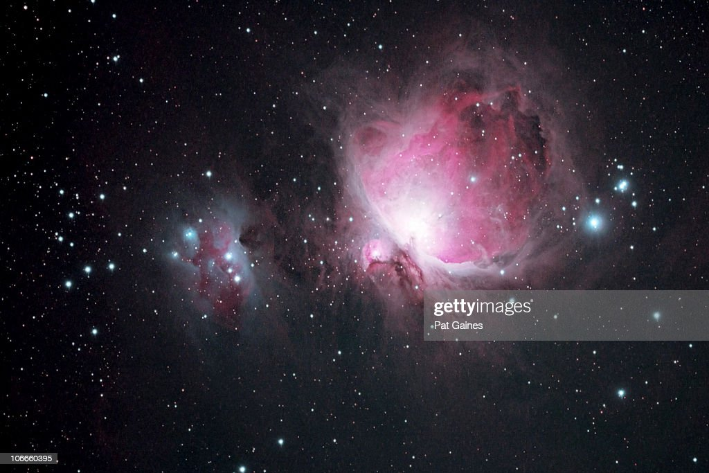 The Orion and the Running Man Nebulae : Stock Photo
