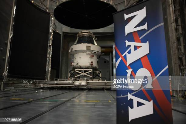 The Orion spacecraft seen during the Nasa Unveil event The spacecraft is the first step in NASAs Artemis Lunar mission aiming to land the first woman...