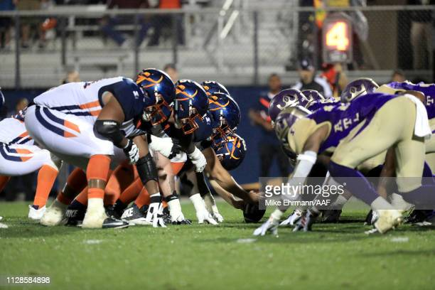 The Orlando Apollos line up against the Atlanta Legends during the fourth quarter on February 09 2019 in Orlando Florida