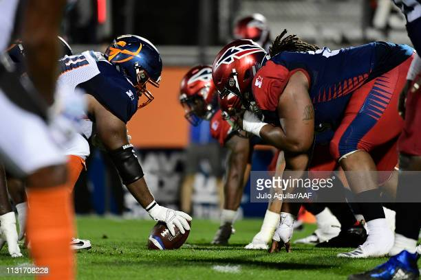 The Orlando Apollos line up at the line of scrimmage against the Memphis Express during the third quarter of the Alliance of American Football game...