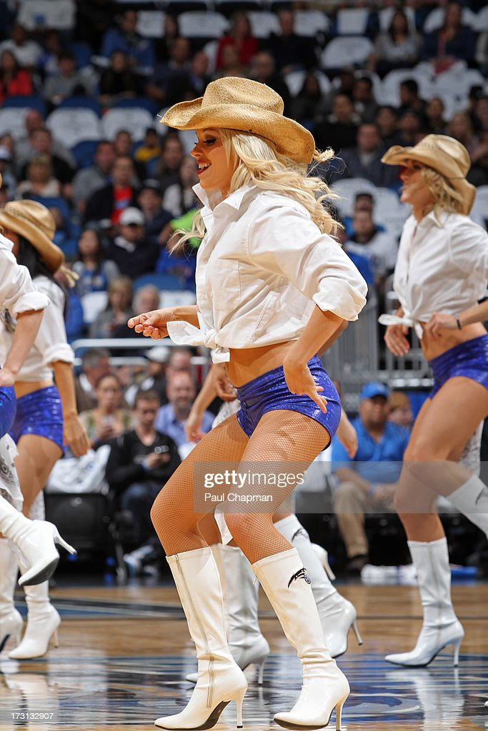 The Orlando Magic dancers perform during a game against Charlotte Bobcats on January 18, 2013 at Amway Center in Orlando, Florida.