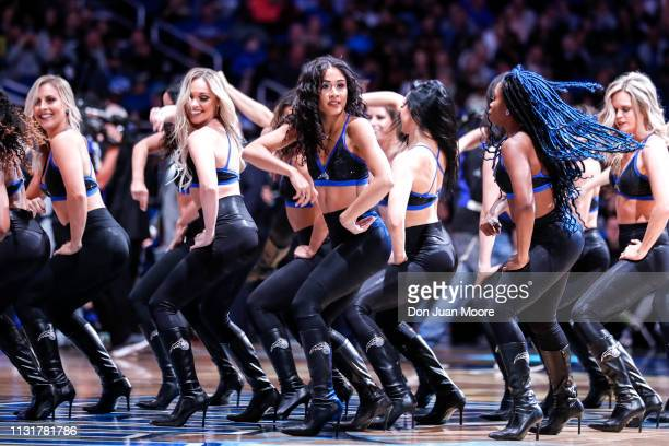 The Orlando Magic Dancers performs during the game against the New Orlean Pelicans at the Amway Center on March 20 2019 in Orlando Florida The Magic...