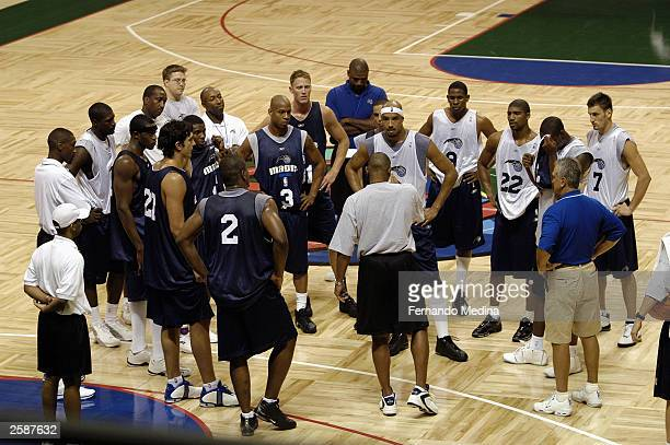 The Orlando Magic gather to listen to head coach Doc Rivers during a practice camp at the Milk House arena at Disney''s Wide World of Sports Complex...