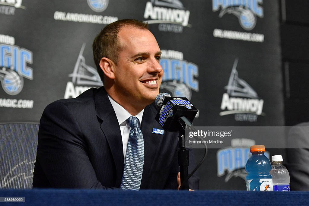 The Orlando Magic introduce new head coach Frank Vogel during a press conference on May 23, 2016 at Amway Center in Orlando, Florida.