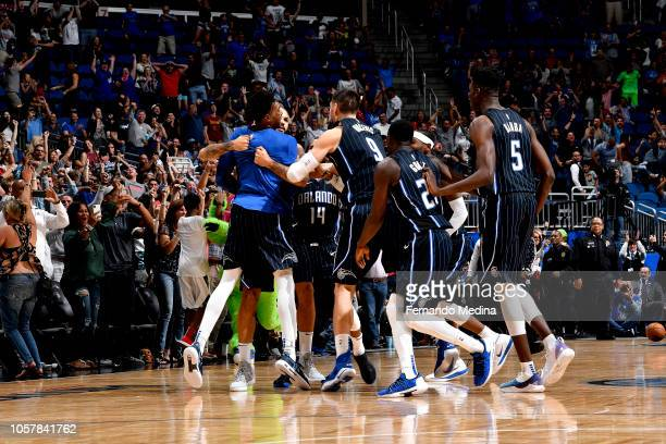 The Orlando Magic reacts against the Cleveland Cavaliers on November 5 2018 at Amway Center in Orlando Florida NOTE TO USER User expressly...