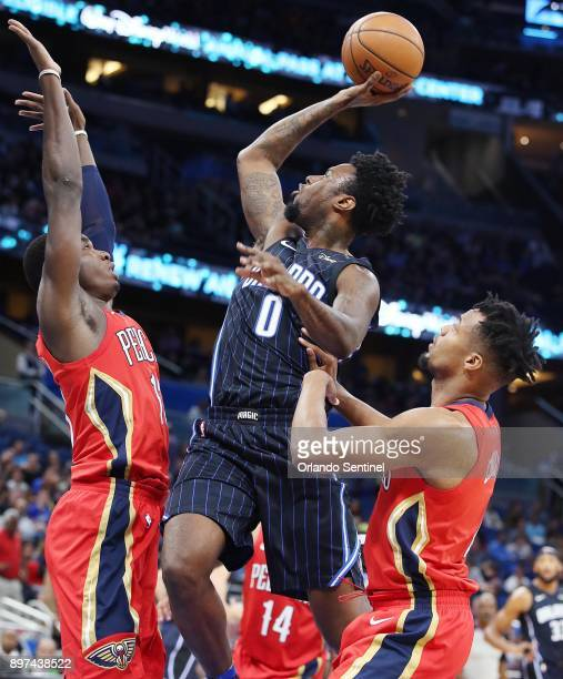 The Orlando Magic's Jamel Artis shoots against the New Orleans Pelicans at the Amway Center in Orlando Fla on Friday Dec 22 2017 The Pelicans won...