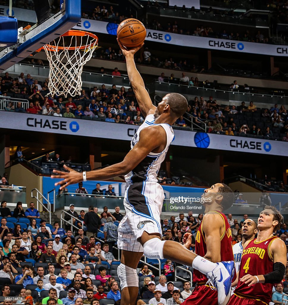 The Orlando Magic's Maurice Harkless (21) goes up to the basket during the fourth quarter against the Cleveland Cavaliers at Amway Center in Orlando, Florida, on Saturday, February 23, 2013. Cleveland topped Orlando, 118-94.