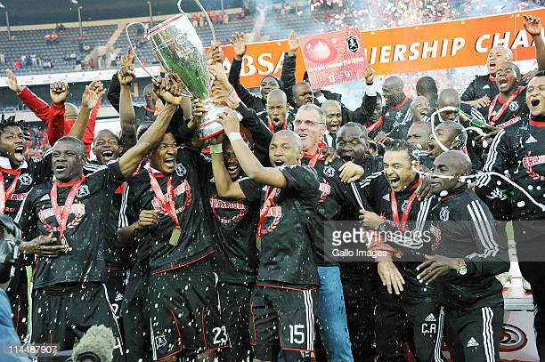 The Orlando Pirates celebrate after winning the Absa Premiership Final match between Orlando Pirates and the Golden Arrows at Orlando Stadium on May...