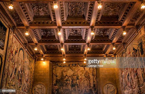 The ornate ceiling of the Assembly Room is viewed on a Great Room Tour at Hearst Castle on May 11 in San Simeon California Hearst Castle built by...