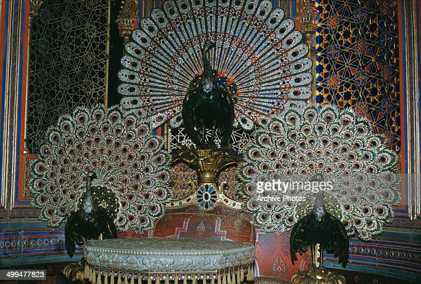 The ornate peacock throne in the Moorish Kiosk of Linderhof Palace in Bavaria Germany circa 1960 The Kiosk was designed for the 1867 International...