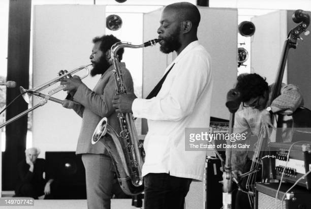 The Ornette Coleman Quartet perform at the Newport Jazz Festival in July 1973 in Newport Rhode Island