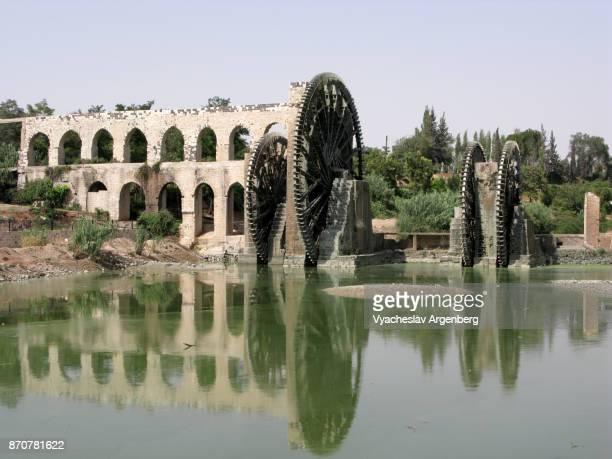 the orontes river and norias of hama - argenberg imagens e fotografias de stock