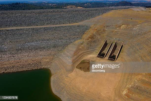 The Oroville Dam at Lake Oroville during a drought in Oroville, California, U.S., on Thursday, July 15, 2021. Water levels at Lake Oroville could...